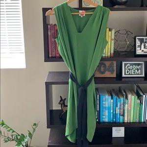 Anthro Laurel Silk Moss Dress Tie Waist Size 6